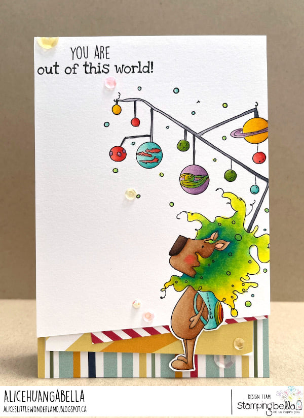 www.stampingbella.com: rubber stamp used : out of this world Dandy card by Alice Huang