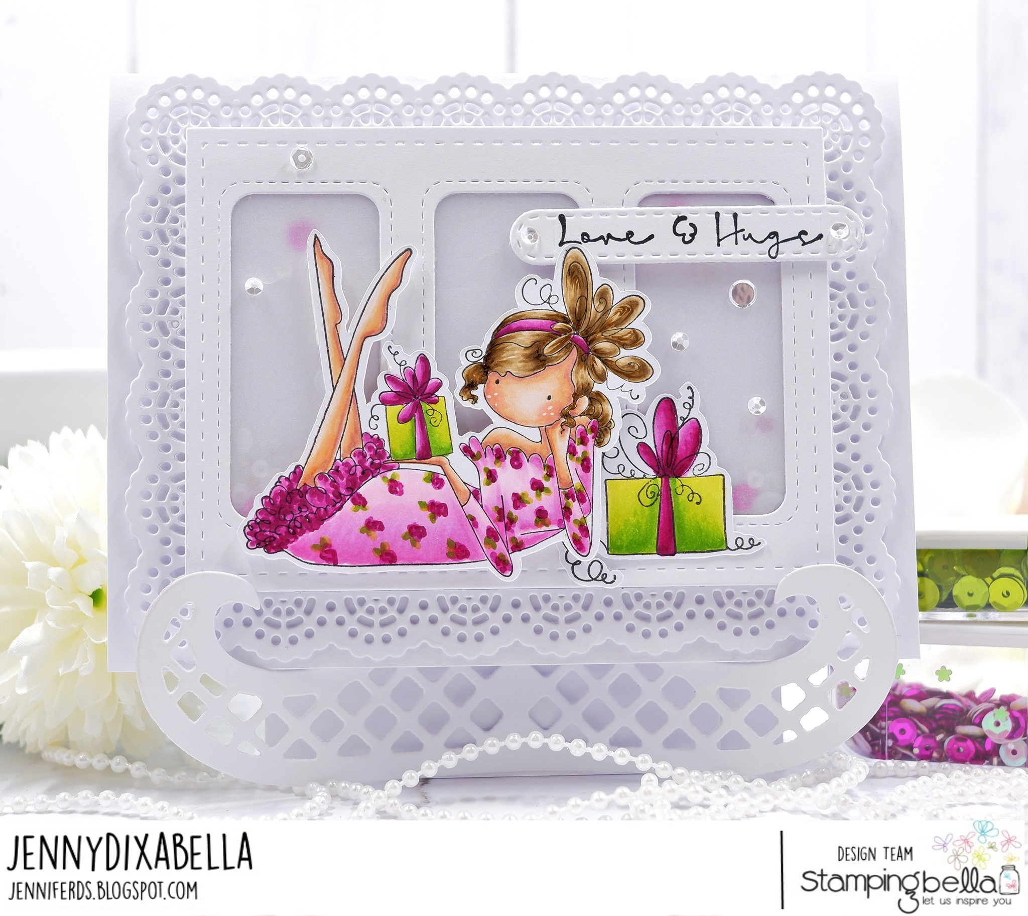 www.stampingbella.com: rubber stamp used: UPTOWN GIRL GLENDA loves Gifts card by Jenny Dix