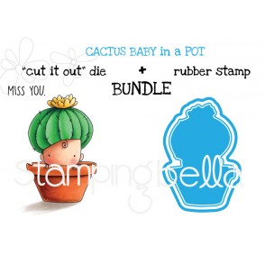 "CACTUS BABY RUBBER STAMP + ""CUT IT OUT DIE"" BUNDLE (SAVE 15%!)"