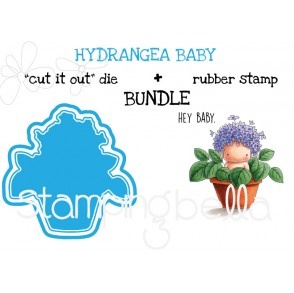 """HYDRANGEA BABY rubber stamp + """"CUT IT OUT"""" die BUNDLE (save 15%)"""