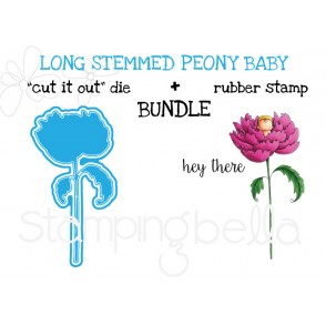 """LONG STEMMED BABY PEONY Rubber stamp + """"CUT IT OUT"""" die BUNDLE (save 15%)"""