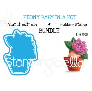 """PEONY baby in a pot rubber stamp + """"CUT IT OUT"""" die BUNDLE (save 15%)"""