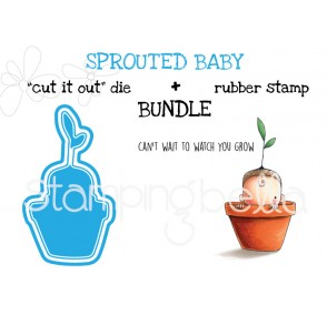 """SPROUTED BABY rubber stamp + """"CUT IT OUT"""" die BUNDLE (save 15%)"""