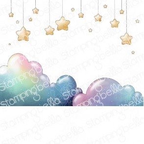 BUNDLE GIRL STARS and CLOUDS BACKDROP rubber stamp