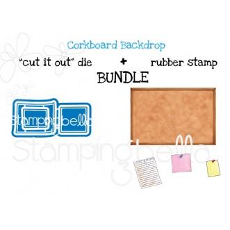 "CORKBOARD BACKDROP RUBBER STAMP + ""CUT IT OUT"" DIE BUNDLE (SAVE 15%)"