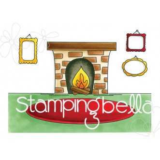 FIREPLACE BACKDROP rubber stamp