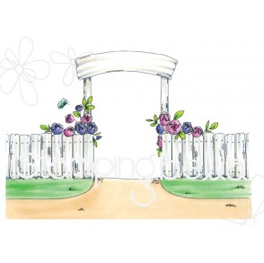 GARDEN BACKDROP rubber stamp