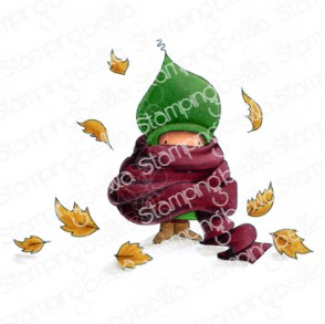 BUNDLE GIRL in a pile of leaves rubber stamp