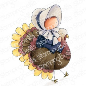 BUNDLE GIRL on a TURKEY rubber stamp