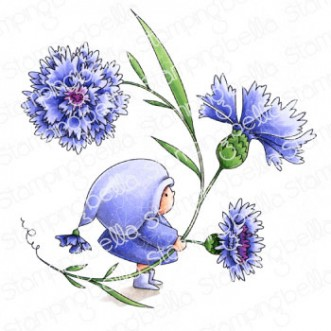 BUNDLE GIRL WITH A CORNFLOWER RUBBER STAMP
