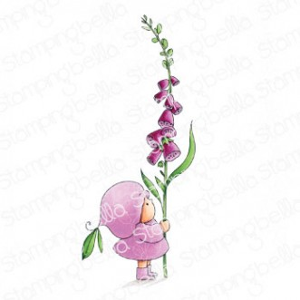 BUNDLE GIRL WITH A FOXGLOVE RUBBER STAMP