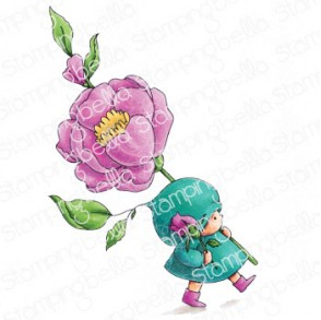 BUNDLE GIRL WITH A ROSE RUBBER STAMP