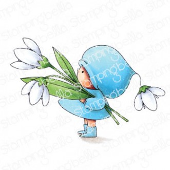 BUNDLE GIRL WITH A SNOWDROP RUBBER STAMP