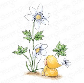 BUNDLE GIRL WITH A WOOD ANEMONE RUBBER STAMP