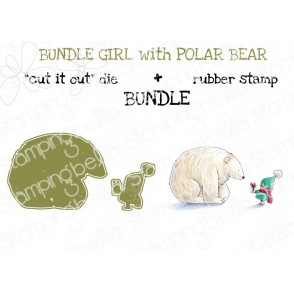 "BUNDLE GIRL WITH POLAR BEAR RUBBER STAMP +""CUT IT OUT"" DIE BUNDLE (save 15%)"