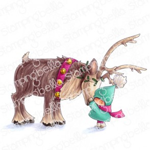 BUNDLE GIRL with reindeer rubber stamp