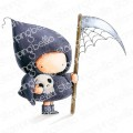 grim reaper BUNDLE GIRL rubber stamp