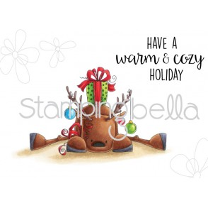 rudolph with a PRESENT on top (set of 2 rubber stamps)