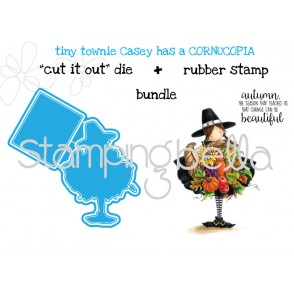 "tiny townie CASEY HAS A CORNUCOPIA ""CUT IT OUT"" DIES + RUBBER STAMP BUNDLE (save 15%)"