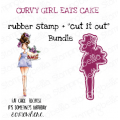 "CURVY GIRL EATS CAKE RUBBER STAMP + ""CUT IT OUT"" DIE BUNDLE (SAVE 15%)"