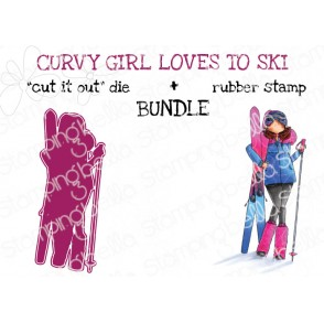 "CURVY GIRL LOVES TO SKI RUBBER STAMP + ""CUT IT OUT"" DIE BUNDLE (save 15%)"