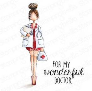 CURVY GIRL DOCTOR RUBBER STAMP