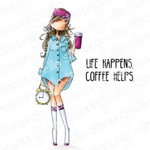 CURVY GIRL LOVES COFFEE rubber stamp
