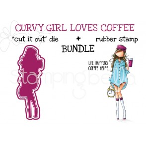"CURVY GIRL LOVES COFFEE rubber stamp +""cut it out"" die BUNDLE (save 15%)"