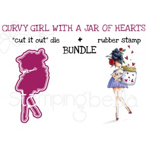 "CURVY GIRL with a JAR OF HEARTS rubber stamp + ""CUT IT OUT"" die bundle (save 15%)"
