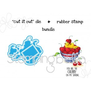 "Cherry CHICK ""CUT IT OUT"" wafer thin dies +RUBBER STAMP BUNDLE"