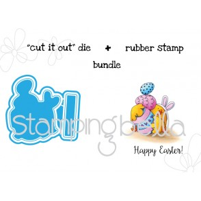 "EASTER BUNNY CHICK ""CUT IT OUT"" wafer thin dies +RUBBER STAMP BUNDLE"