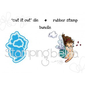 "EDNA blows A KISS ""CUT IT OUT"" wafer thin die + RUBBER STAMP BUNDLE"