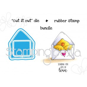 "Mail CHICK ""CUT IT OUT"" die + RUBBER STAMP BUNDLE"