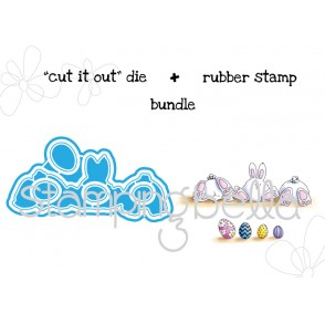 "row of BUNNY WOBBLES ""CUT IT OUT"" wafer thin dies + RUBBER STAMP BUNDLE"