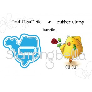 "slick CHICK ""CUT IT OUT"" wafer thin dies + RUBBER STAMP BUNDLE"