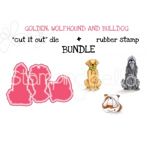 "GOLDEN, WOLFHOUND AND BULLDOG RUBBER STAMP + ""CUT IT OUT"" DIE BUNDLE (SAVE 15%)"