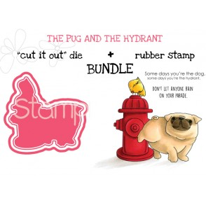 "THE PUG AND THE HYDRANT RUBBER STAMP + ""CUT IT OUT"" DIE BUNDLE (SAVE 15%)"