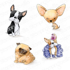 BOSTONS, PUG and CHIHUAHUA rubber stamps