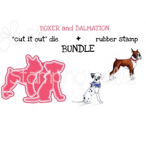 "BOXER and DALMATION rubber stamp + ""CUT IT OUT"" DIE bundle (save 15%)"