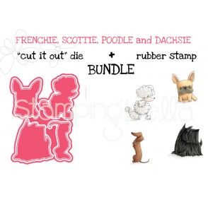 "Frenchie, Scottie, POODLE and DACHSIE rubber stamp + ""CUT IT OUT"" die BUNDLE (save 15%)"