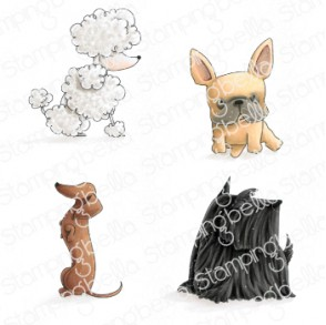 Frenchie, Scottie, POODLE and Dachsie rubber stamps (4 stamps)