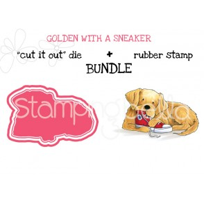 "GOLDEN WITH A SNEAKER rubber stamp + ""CUT IT OUT"" die BUNDLE (save 15%)"