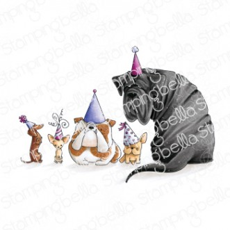 PARTY DOGS RUBBER STAMP