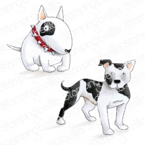 STAFFIE AND ENGLISH BULL TERRIER RUBBER STAMPS