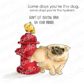 THE PUG AND THE HYDRANT rubber stamp
