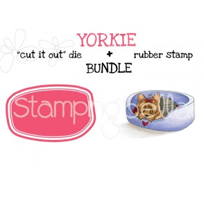 "YORKIE rubber stamp + ""CUT IT OUT"" die BUNDLE (save 15%)"