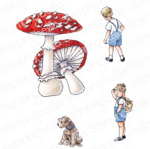 EDGAR AND MOLLY VINTAGE MUSHROOM SET RUBBER STAMPS