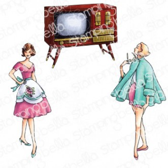 EDGAR AND MOLLY VINTAGE TV SET (SET OF 3 RUBBER STAMPS)