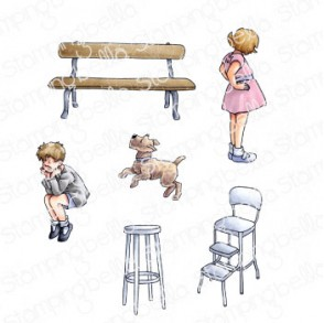EDGAR AND MOLLY VINTAGE BENCH SET RUBBER STAMPS