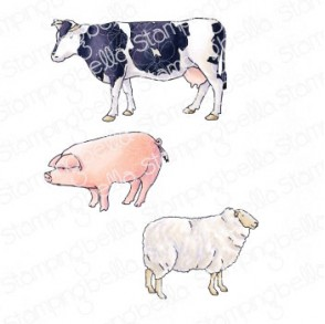 EDGAR AND MOLLY VINTAGE FARM ANIMAL SET RUBBER STAMPS
